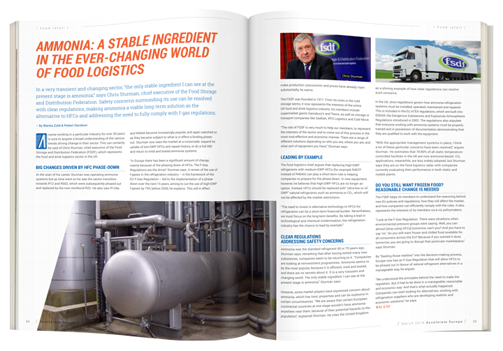 Ammonia: A stable ingredient in food logistics