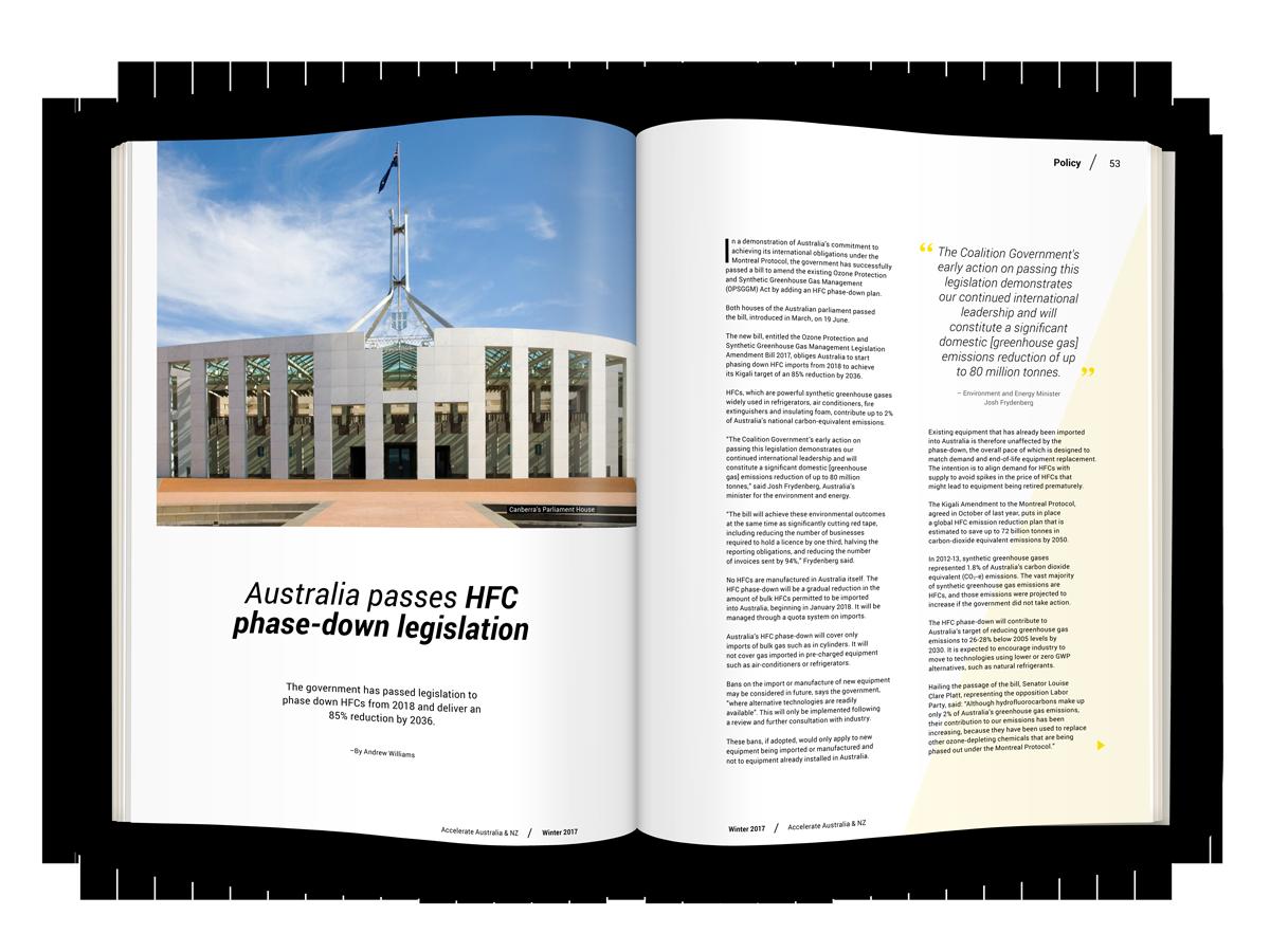 Australia passes HFC phase-down legislation